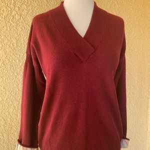 Burberry Burgundy Pullover Women's Sweater Sz. L